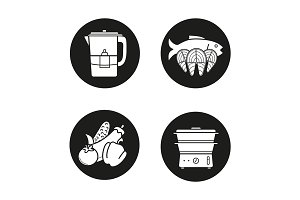 Steam cooking. 4 icons. Vector
