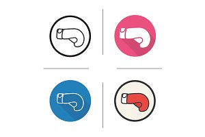 Boxing glove. 4 icons. Vector