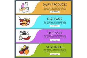 Products categories banners. Vector