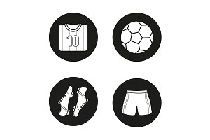 Soccer. 4 icons set. Vector