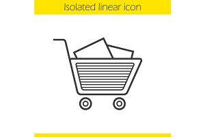 Shopping cart and boxes icon. Vector