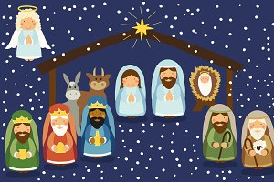 Cute characters of Nativity scene