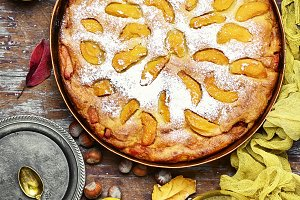 Rustic baked pie with quince