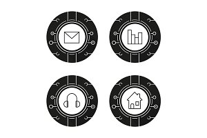 Cyber technology. 4 icons. Vector