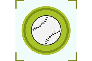 Baseball ball color icon. Vector