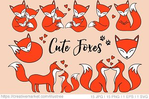 Cute foxes, digital clip art set