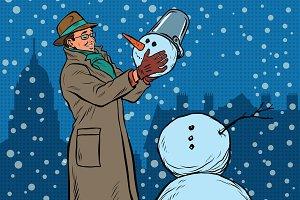 Retro man and snowman