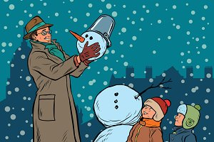 Children and male mold snowman