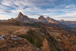 Sunset in the Dolomites mountains