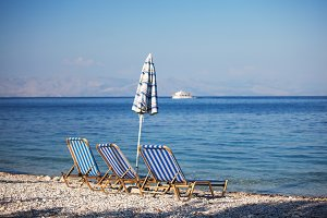 Empty beach. Corfu Island, Greece.