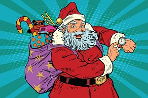 Santa Claus shows on the clock