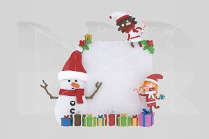 3d illustration. Snowman & Girls
