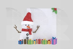 3d illustration. Snowman with paper.