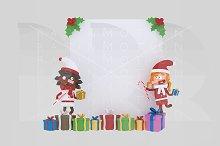 3d illustration. Santa girls paper.
