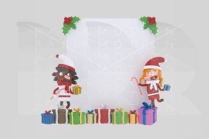 3d illustration. Santa girls paper.