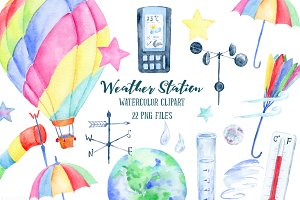 Watercolor Clipart Weather Station