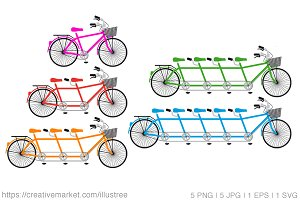 Tandem bicycles vector set
