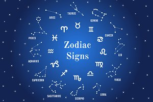 24 Zodiac signs, vector set