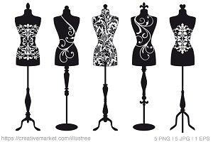 Vintage mannequins, vector set