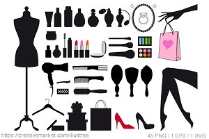 45 fashion clip art, vector set