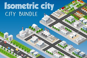 Isometric bundle  modern 3D city