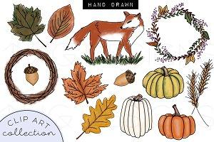Fall Fox Doodle Clip Art