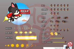 Jet Pack And Gun Cat Game Sprites