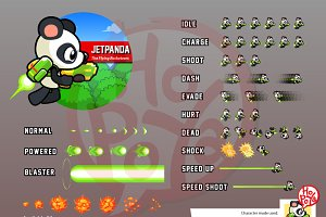 Jet Pack And Gun Panda Game Sprites