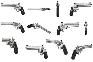 Revolver firearm gun chrome set