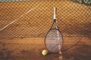 Tennis racquet on the court