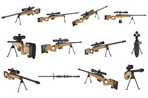 Rifle sniper beige weapon set