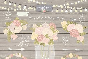 Vector Rustic/chalk flower wedding