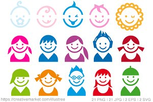 Cute baby and children icons, vector