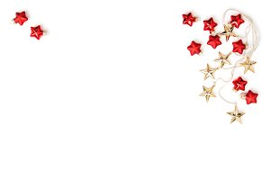 Christmas ornaments gold red stars