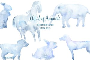 Watercolor Clipart Cloud of Animals