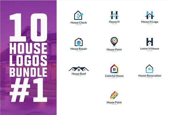 10 House Logo Bundle #1 in Logo Templates