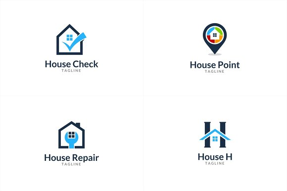 10 House Logo Bundle #1 in Logo Templates - product preview 2
