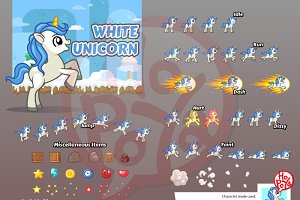 White Unicorn Game Sprites
