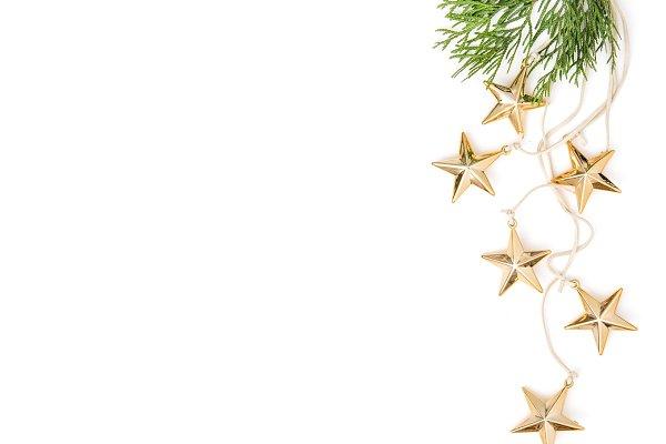 Golden stars Christmas ornaments