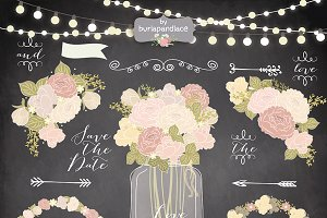 Vector chalk/rustic flower clipart