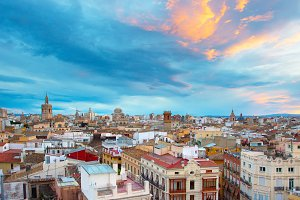 Skyline of Valencia at sunset. Spain
