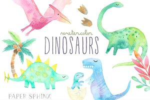 Watercolor Dinosaurs Pack