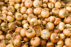 Yellow onions at the market