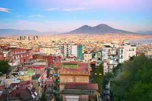 Skyline of Naples at sunset. Italy