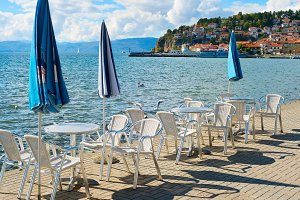 Outdoor restaurant. Ohrid, Macedonia