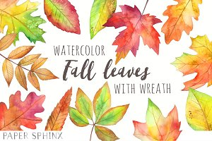 Fall Leaves Watercolor Pack