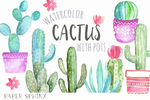 Watercolor Cactus Graphic Pack
