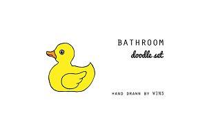 Bathroom. Doodle set