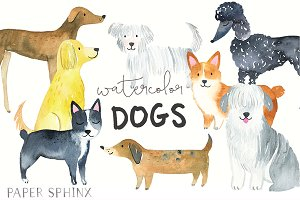 Watercolor Dog Breeds Graphic Pack
