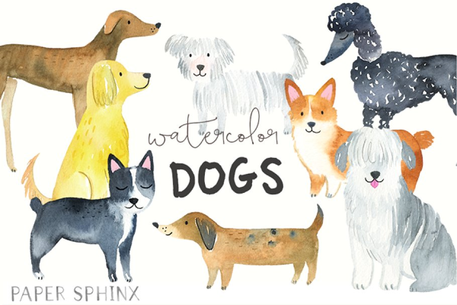 Watercolor Dog Breeds Graphic Pack Illustrations